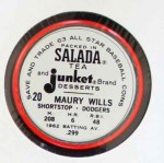 1963 Salada Metal Coins #20  Maury Wills  Back Thumbnail