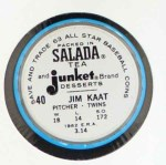 1963 Salada Metal Coins #40  Jim Kaat  Back Thumbnail