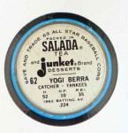 1963 Salada Metal Coins #62  Yogi Berra  Back Thumbnail