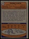 1974 Topps #79  Don Luce  Back Thumbnail