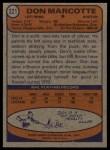 1974 Topps #221  Don Marcotte  Back Thumbnail