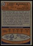 1974 Topps #168  Lanny MacDonald  Back Thumbnail