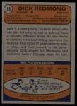 1974 Topps #186  Dick Redmond  Back Thumbnail