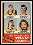 1974 Topps #98   -  Butch Goring / Frank St. Marseille / Don Kozak Kings Leaders Front Thumbnail