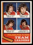 1974 Topps #154   -  Bobby Clarke / Dave Schultz Flyers Leaders Front Thumbnail