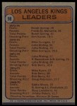 1974 Topps #98   -  Butch Goring / Frank St. Marseille / Don Kozak Kings Leaders Back Thumbnail