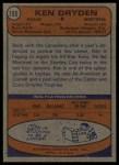 1974 Topps #155  Ken Dryden  Back Thumbnail