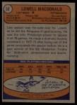 1974 Topps #30  Lowell MacDonald  Back Thumbnail