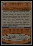 1974 Topps #200  Phil Esposito  Back Thumbnail