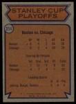 1974 Topps #214   Semi-Finals - Bruins vs. Blackhawks Back Thumbnail