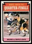 1974 Topps #211   Quarter Finals - Bruins vs. Maple Leafs Front Thumbnail