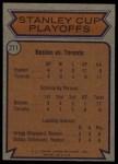 1974 Topps #211   Quarter Finals - Bruins vs. Maple Leafs Back Thumbnail