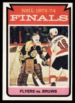 1974 Topps #215   Finals - Flyers vs. Bruins Front Thumbnail