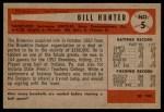 1954 Bowman #5  Billy Hunter  Back Thumbnail