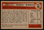 1954 Bowman #38 3B Minnie Minoso  Back Thumbnail