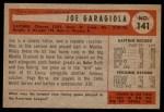 1954 Bowman #141  Joe Garagiola  Back Thumbnail