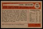 1954 Bowman #10  Carl Erskine  Back Thumbnail