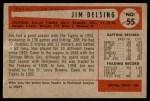 1954 Bowman #55  Jim Delsing  Back Thumbnail