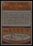 1974 Topps #192  Steve Atkinson  Back Thumbnail