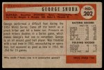 1954 Bowman #202  George Shuba  Back Thumbnail