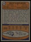 1974 Topps #232  Guy Lafleur  Back Thumbnail