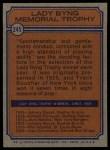 1974 Topps #245  Johnny Bucyk  Back Thumbnail