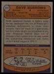 1974 Topps #241  Dave Burrows  Back Thumbnail