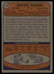 1974 Topps #152  Dave Dunn  Back Thumbnail