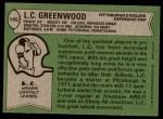 1978 Topps #145  L.C. Greenwood  Back Thumbnail
