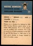 1962 Fleer #71  Wayne Hawkins  Back Thumbnail