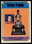 1974 Topps #249   -  Bernie Parent Vezina Trophy Front Thumbnail
