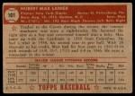 1952 Topps #101  Max Lanier  Back Thumbnail