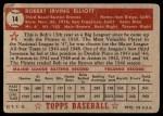 1952 Topps #14  Bob Elliott  Back Thumbnail