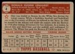 1952 Topps #4  Don Lenhardt  Back Thumbnail