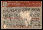 1952 Topps #244  Vic Wertz  Back Thumbnail
