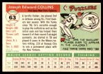 1955 Topps #63  Joe Collins  Back Thumbnail