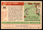 1955 Topps #98  John Riddle  Back Thumbnail