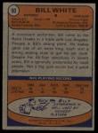 1974 Topps #90  Bill White  Back Thumbnail