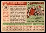 1955 Topps #27  Billy Gardner  Back Thumbnail