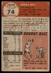 1953 Topps #74  Joe Rossi  Back Thumbnail