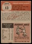 1953 Topps #13  Connie Marrero  Back Thumbnail