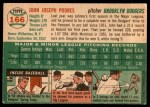 1954 Topps #166  Johnny Podres  Back Thumbnail