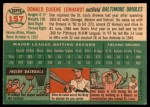 1954 Topps #157  Don Lenhardt  Back Thumbnail