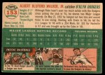 1954 Topps #153  Rube Walker  Back Thumbnail