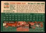 1954 Topps #116  Steve Bilko  Back Thumbnail