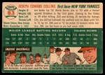 1954 Topps #83  Joe Collins  Back Thumbnail