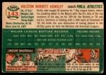 1954 Topps #143  Rollie Hemsley  Back Thumbnail
