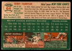 1954 Topps #64  Hank Thompson  Back Thumbnail
