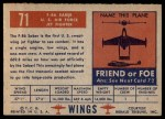 1952 Topps Wings #71   F-86 Saber Back Thumbnail