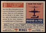 1952 Topps Wings #31   C-121 Constellation Back Thumbnail